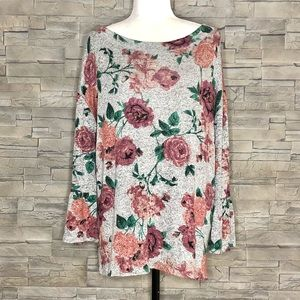 Maurices grey floral knit top